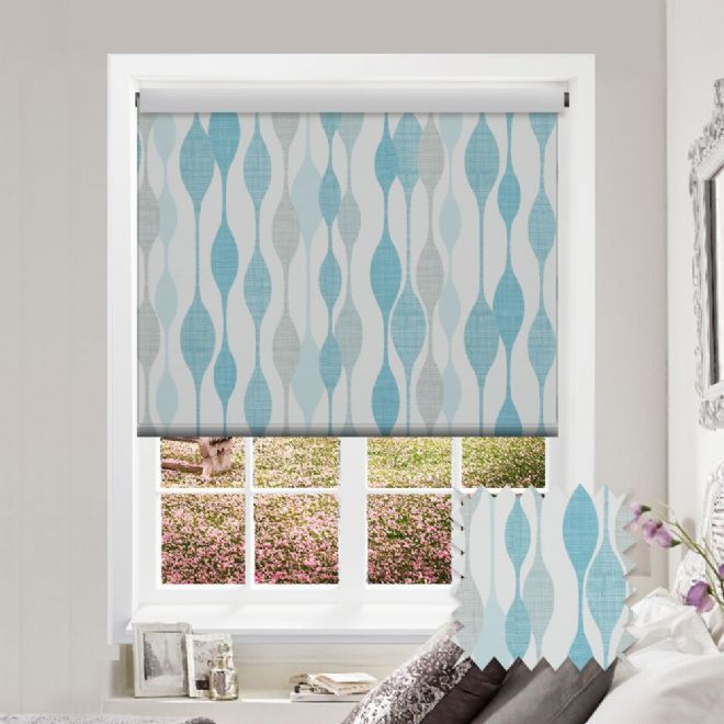 Premium Roller In Ribbon Teal Fabric Just Blinds